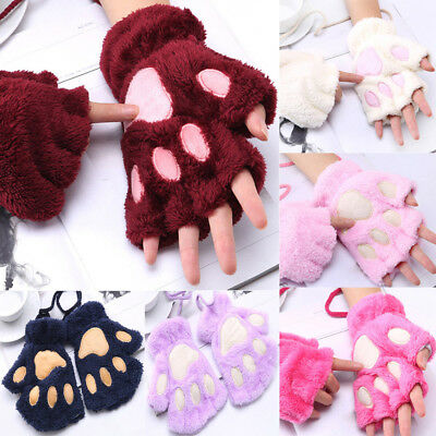 Cute Girls Women Plus Velvet Thickening Half-finger Cat Paws Gloves Warm Mittens