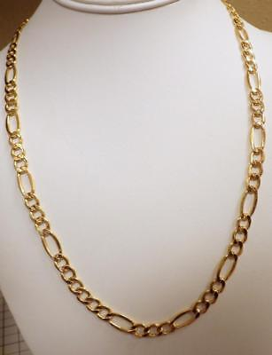 "Yellow GOLD 6.87mm Figaro Italy Chain 10KT  Necklace 22"" Long 9.452 GRAMS"