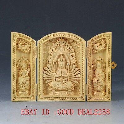 Chinese Boxwood Highly Difficulty Carved Thousand-Hand Kwanyin Floding Box  FK12