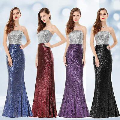 US Women's Strapless Sequins Formal Evening Party Dress Cocktail Prom Gown 08372