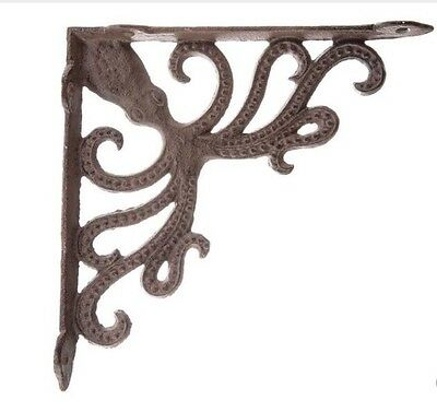 Octopus Cast Iron Wall Shelf Brackets Decor Beach Theme Nautical NEW Set Of 2