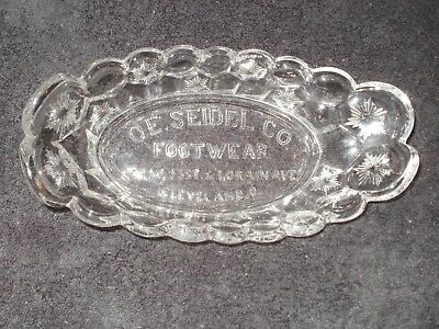 EAPG Advertising Pickle Dish - O E Seidel Footwear, Cleveland, OH Moon & Star