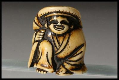 "NO12 Japanese Antiques Deerbone Netsuke "" Fukuno-kami(Lucky God) "" Japan"