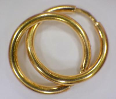 22KT Yellow PURE Gold Round hoop Earrings .783 GRAMS Hallmarked