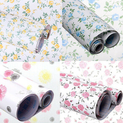 Floral Self Adhesive Contact Paper Shelf Drawer Liner Wallpaper Decals Stickers