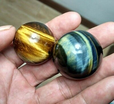 98.6g 2pc  Natural Blue and Yellow Tiger's Eye Crystal Sphere Ball Healing P1016