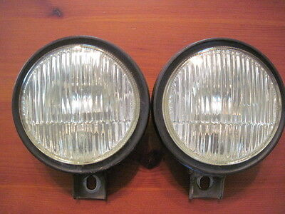 Excellent Pair of Used 914/6 Round Fog Lights with Horizontal Line.