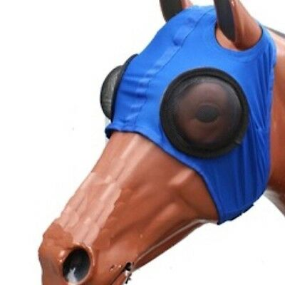 Lycra Mesh Horse EyeHood With Powder Coated S/ Steel Mesh Eyecups~Blue ~One Size