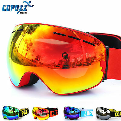 COPOZZ Ski Goggles Snowboard Double Lens Anti-fog Spherical Professional Glasses