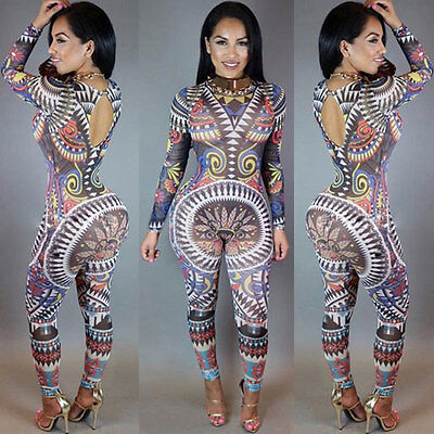 Womens Long Sleeve Print Clubwear Playsuit Party Jumpsuit&Romper Long Trousers