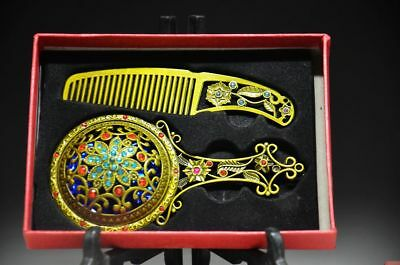 Collection Exquisite Chinese Brass Handmade Carved Flower Mirror & Comb