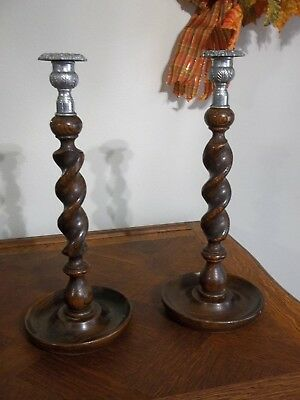 PAIR Antique English Oak Barley Twist Candlesticks Candle Holder Thistle Top 14""