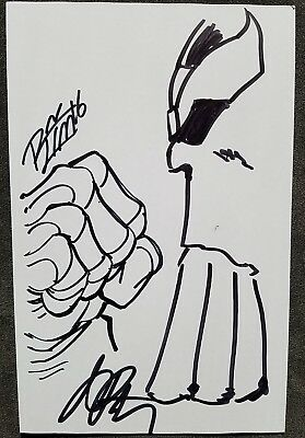 Jim Starlin & Ron Lim Original Art Signed Sketch Thanos Infinity Gauntlet Marvel