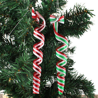 4x Sweets Acrylic Christmas Candy Canes Xmas Tree Decoration Gift 2 Style
