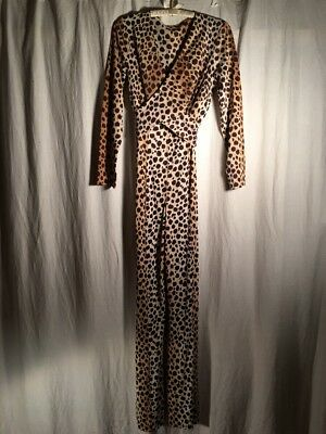 Vintage Fredericks Of Hollywood Leopard Cat Suit Tall Large