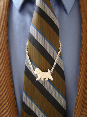 Small Sterling Silver Cairn Terrier Moving Study Tie Chain