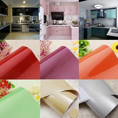 High Gloss PVC Contact Paper Kitchen Oil Proof Cupboard Wardrobe Wallpaper Roll
