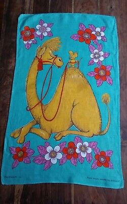 Vtg irish linen Old Bleach tea towel Mouse and Camel great graphics mid century