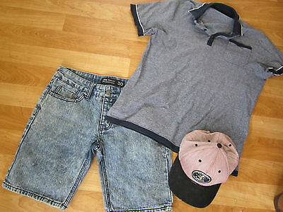 "mens sz small kenji polo shirt, sz 30"" 76cm line denim shorts element hat cap"