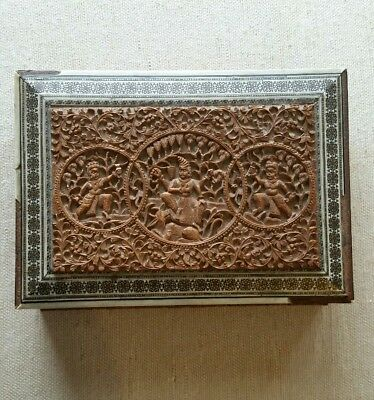 Carved Sandalwood Box Inlaid Mosiac Silver Figural Dieties Anglo Indian Older