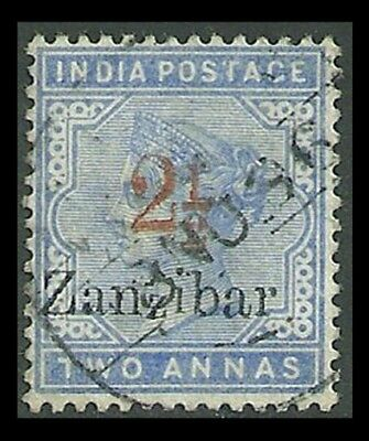 Zanzibar : 1895 India QV 2½/2a  with VARIETIES .