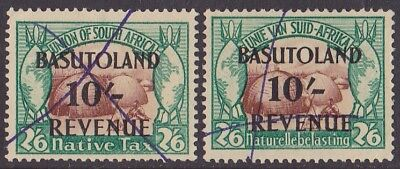 Basutoland 1942 Revenue 10/- on South Africa 2/6 English Afrikaans. Bft cat £200
