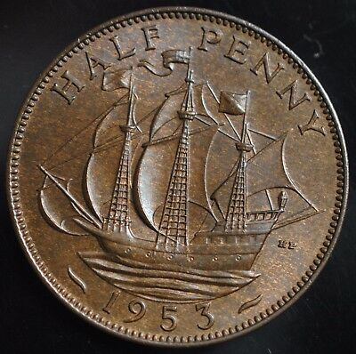 "1953 British UK Elizabeth 11 UNC Halfpenny Sir Francis Drakes Ship ""Golden Hind"""