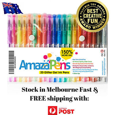 Glitter Gel Pens (20 pack) with 2.5X More Ink - Craft, Kids & Adult Colouring