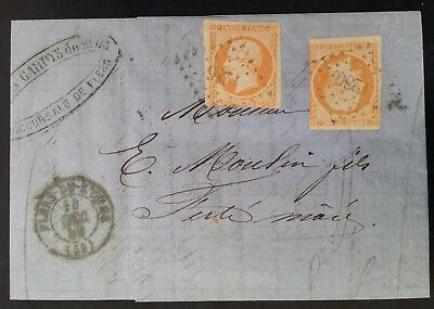 VERY RARE 1859 France Folded Invoice Letter ties 2 Napoleon stamps canc Flers