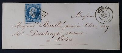 RARE 1857 France Cover ties 20c blue Emperor Napoléon III stamp canc Orleans