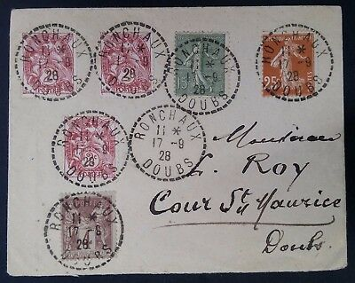 RARE 1928 France Cover ties 6 stamps canc Ronchaux to Cours Saint-Mauris