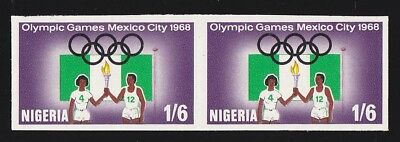 NIGERIA 1968 Mexico Olympics 1/6 pair ERROR IMPERF MNH ** ONLY 1 SHEET KNOWN!