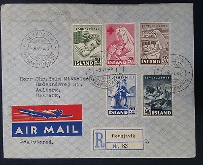 RARE 1949 Iceland Registd Airmail Cover ties 5 Charity stamps canc Reykjavik