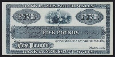 NEW ZEALAND Bank of New South Wales £5 19--, (ca 1924) proof. UNC. P-S163