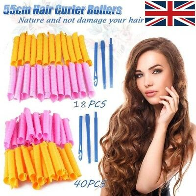 Large 55CM Magic Hair Curlers No Heat Cheap Rollers Spiral Circle Tools 40PCS/18