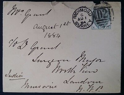 "RARE 1884 Great Britain Cover ties 5d QV stamp canc Richmond ""Sea PO"" to India"