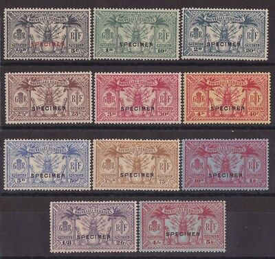 NEW HEBRIDES - FRENCH 1925 Weapons & Idols set 5c - 5Fr SPECIMEN