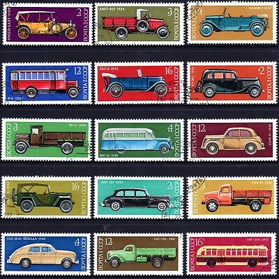 AUTOMOBILES on stamps. RUSSIA 1973-6 Set of 15 CTO