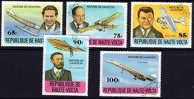PLANES on stamps. VOLTA 1977 Set of 5 CTO
