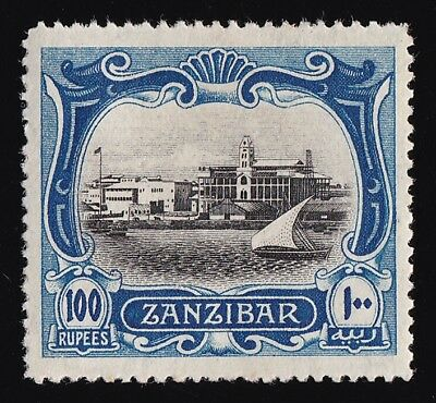 ZANZIBAR 1908 View of Port 100R RARE ! wmk Multi Rosettes
