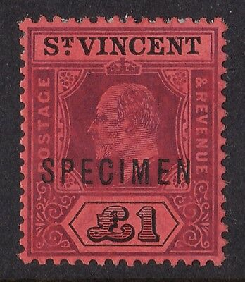 ST. VINCENT 1904 KEVII £1 SPECIMEN wmk Multi Crown CA
