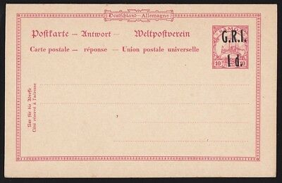 SAMOA 1914 GRI 1d on Yacht 10pf Double Reply Postcard VARIETY overprint DOUBLE