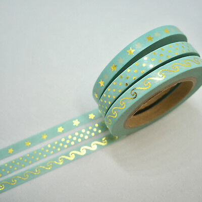 Washi Tape Planner Essentials Skinny Foil 3 Roll Set Each 5Mm X 10Mtr Mint/aqua
