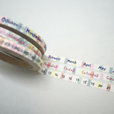 Washi Tape Planner Essentials Date Day Month Skinny 3 Roll Set Each 5Mm X 10Mtr