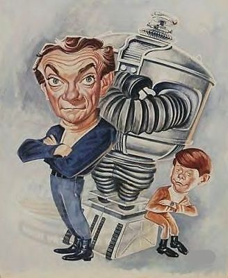 Lost In Space Caricature 60's TV Dr Smith Robot Sticker or Magnet