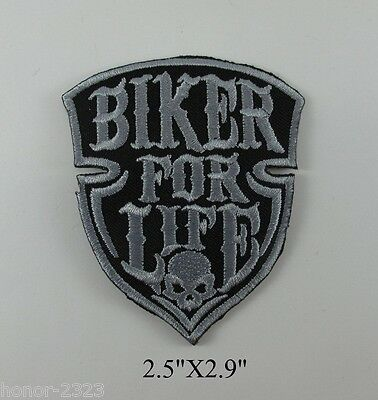 New Embroidered Iron On Patch Biker For Life Motocycle T-Shirt Jacket Cap Aa