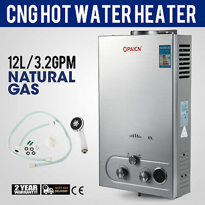 12L Tankless Boiler Natural Gas Instant Hot Water Heater With Shower Head NG