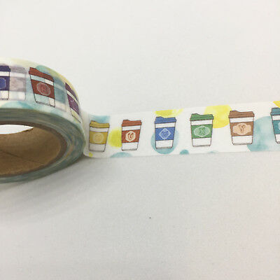 Washi Tape Coffee Cups 15Mm X 10Mtr Plan Craft Wrap Scrap