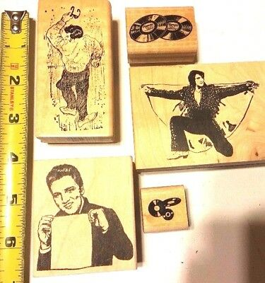 Lot of 5 Elvis Rubber Stamps  LP Stamp Music Las Vegas Theme Elvis Presley Stamp