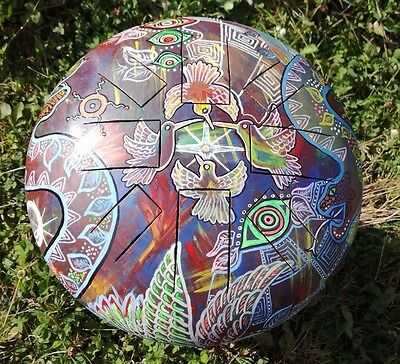 Steel tongue drum, Hank tank, hand painted in ayahuasca/psychedelic mix,